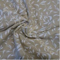 1.47m Cream Leaves on Beige Background 100% Cotton