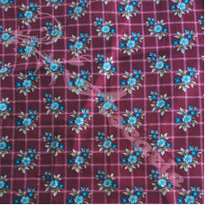.96cm Flowers on Burgundy Check 100% Plain Cotton