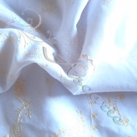 1.30cm  Gold Embroidery on 100%  white Cotton