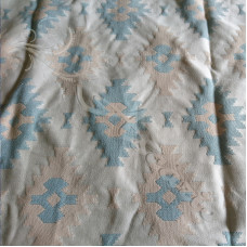 1.5mtrs Beige & Green Diamonds on Cream Curtaining