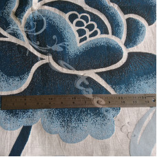3mtrs Large Blue Flowers  on Cream Curtaining
