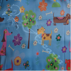 """2 metres 60"""" Dogs on Blue Blackout Lining"""