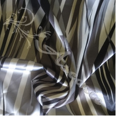 2.4mtr Grey Cream Abstract Lines Dress Fabric