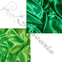 2 metres Plain Emerald & Lime Green Polyester Satin
