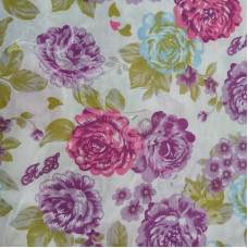 2.3.m Large Pink, Purple & Blue  flowers on White poly-cotton