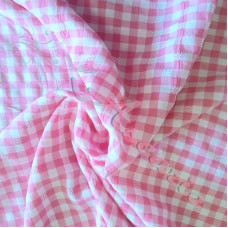 """1.5mtr 1/4"""" Pink Gingham  with flowers PolyCotton"""