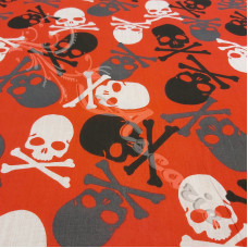 Jolly Roger on Red Polycotton