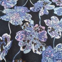 Blue & Purple Flowers on Black 100% Cotton