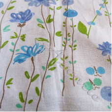 Blue Summer Flowers on white  100% Cotton