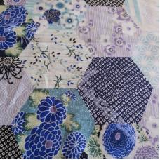 Blue Hexagonal Patchwork  100% Cotton