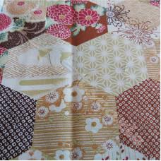 Beige Hexagonal Patchwork  100% Cotton