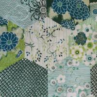 Green Hexagonal Patchwork  100% Cotton