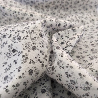 Ditsy Black Flowers on White 100% Cotton