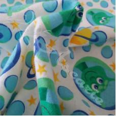 Aliens Brushed  Cotton on Aqua Fabric
