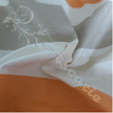 Wide Stripe Orange Cream and Grey 100%Cotton