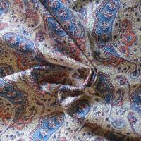 Beige - blue Paisley 100% Cotton