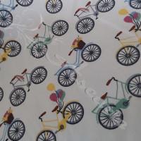 Vintage Multi Coloured Bikes on White 100% Cotton