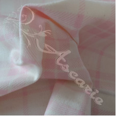 Pink Check on Cream Cotton Drill