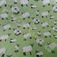 Sheep & Lambs on Green 100% Cotton