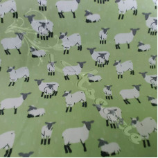 Sheep & Lambs on Green 100% Cotton