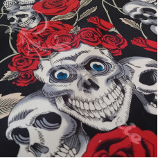 Skulls & Red Roses  100% Cotton Print