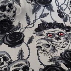 Skulls & Black Roses  100% Cotton Print