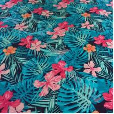 Tropical Flowers  on Navy 100% Cotton Poplin