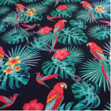 Exotic Parrots on Navy 100% Cotton Poplin