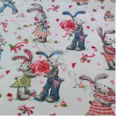 Rabbit Sweethearts from John Louden  100% Cotton Poplin