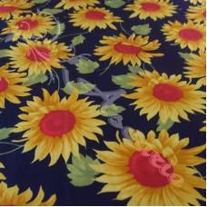 Large sunflowers  on Navy 100% Cotton Poplin