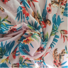 Tropical Flowers on Pink Dress  Fabric