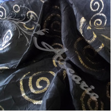 Black with Gold Swirls  Dress Fabric