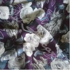 Purple Floral Chiffon  Dress Fabric