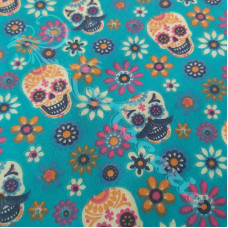 Skulls & Flowers on Teal PolyCotton
