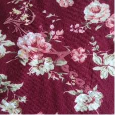 Pink Roses on Burgundy Fine Needlecord