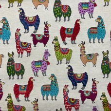 New World Little Llamas Natural Tapestry
