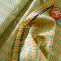 1.8mtrs Designer 100%  Wool Plaid Mustard Background Fabric