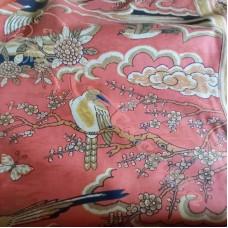 Exotic Birds on Orange for Curtaining