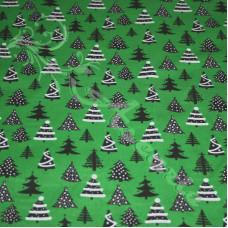 Christmas trees, on Green Polycotton Print