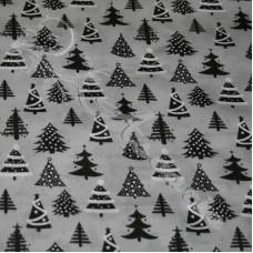 Christmas trees, on Grey Polycotton Print