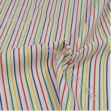 Thin Multi Coloured Stripe  Polycotton