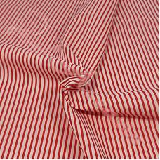 Narrow Red Coloured Stripe Polycotton