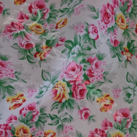 Pink & Yellow Large Flowers on Pink  Polycotton