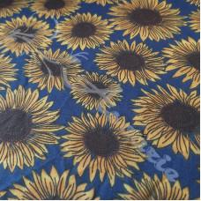 Sunflowers on Blue  Polycotton