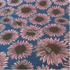 Pink Sunflowers on Blue  Polycotton