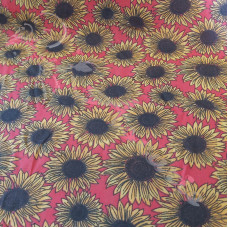 Sunflowers on Red  Polycotton