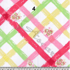 Red & Yellow (4) Criss Cross Floral PolyCotton