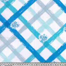 .60cm Blue Criss Cross Floral PolyCotton