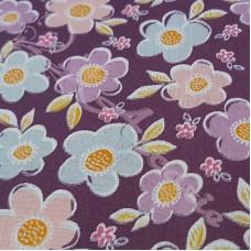 Multi coloured daisy's on Purple  poly-cotton