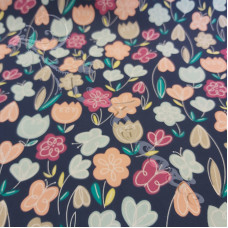 Tulips & Butterfly's on Navy  poly-cotton